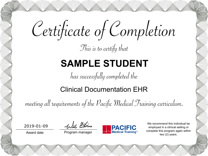 EHR clinical documentation sample certification