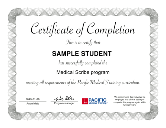 Sample medical scribe certifiacte